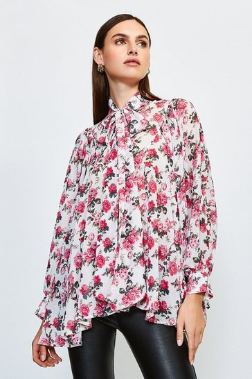 Pink Floral Print Oversized Blouse