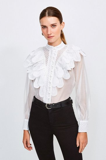 White Sheer And Textured Ruffle Blouse
