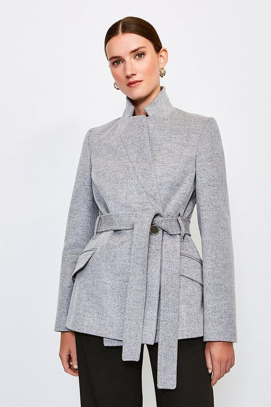 Grey Investment Notch Neck Short Coat