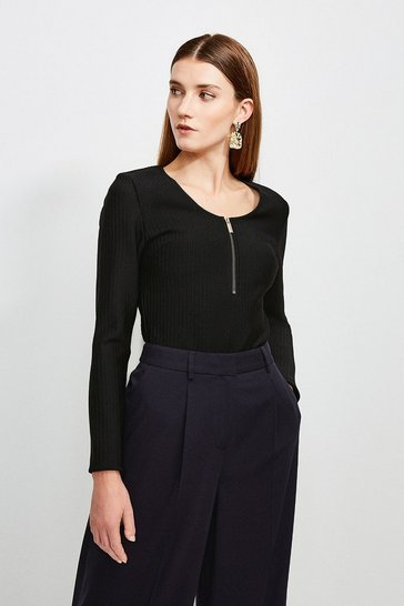 Black Zip Front Bandage Knit Top