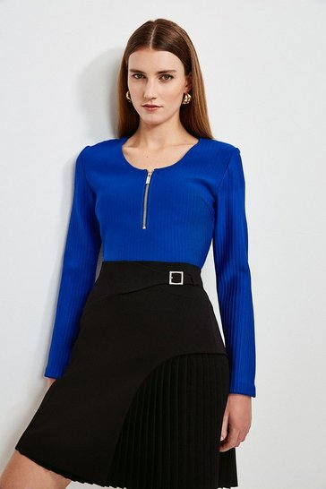 Cobalt Zip Front Bandage Knit Top