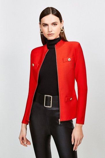 Red Military Bandage Knit Jacket
