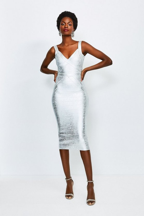Silver Metallic Foil Bandage Knit Dress