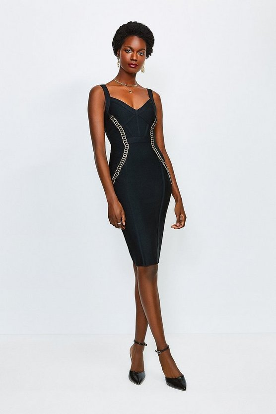 Black Chain Loop Bandage Dress
