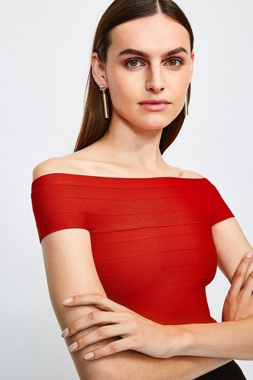 Red Bardot Bandage Knit Top