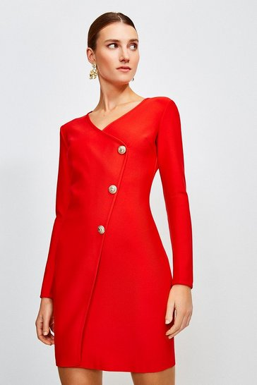 Red Gold Button Faux Wrap Knitted Dress