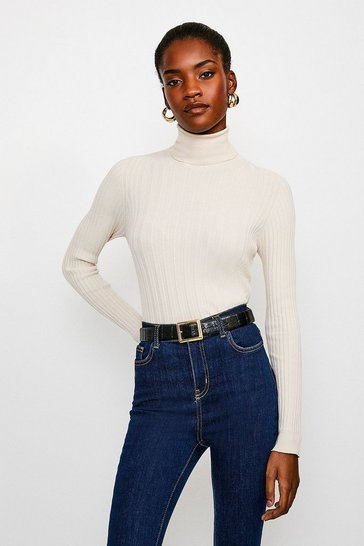 Beige Essential Wide Rib Roll Neck