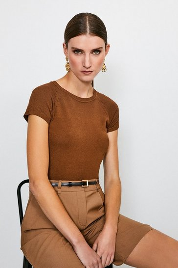 Brown Essential Knitted Tee