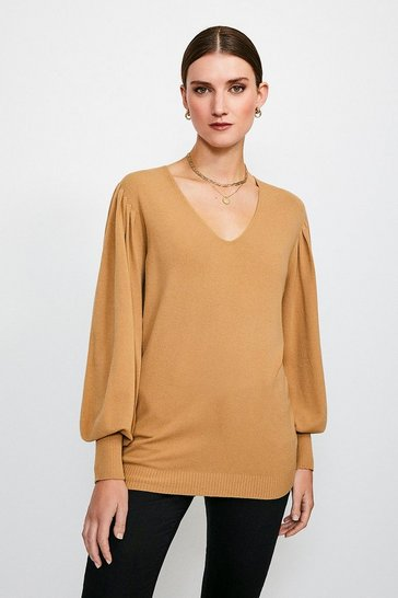 Beige Essential Volume Sleeve Jumper