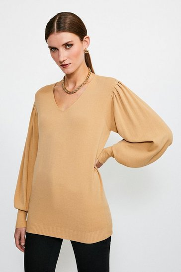 Camel Essential Volume Sleeve Jumper
