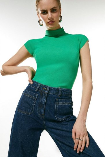 Green Essential Roll Neck Short Sleeve Jumper