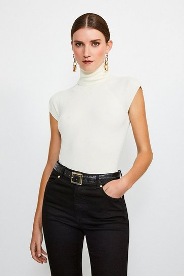 Ivory Essential Roll Neck Short Sleeve Jumper