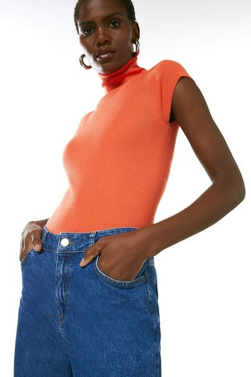 Orange Essential Roll Neck Short Sleeve Jumper