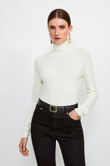 Ivory Essesntial Roll Neck Jumper