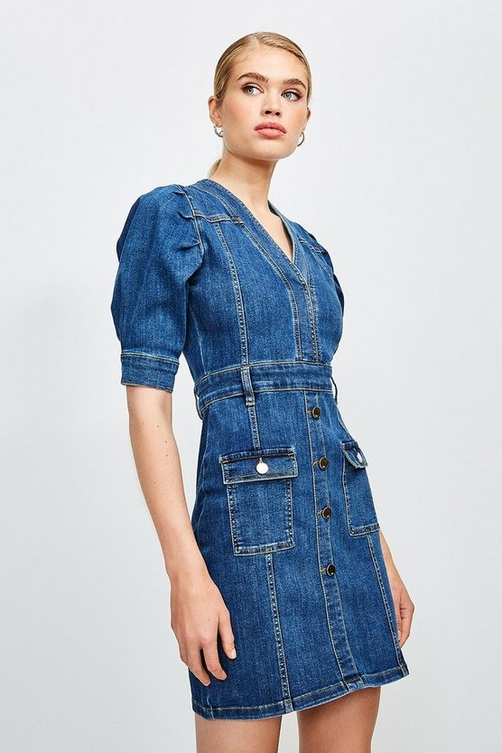 Dark wash Puff Sleeve Button and Pocket Denim Dress