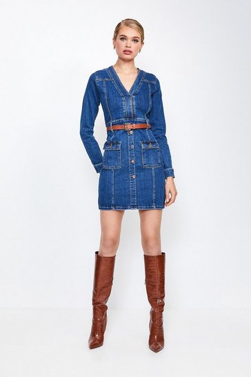 Dark wash Long Sleeve Button and Pocket Denim Dress