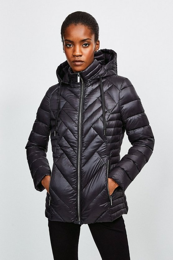 Black Lightweight Feather Down Packable Padded Jacket