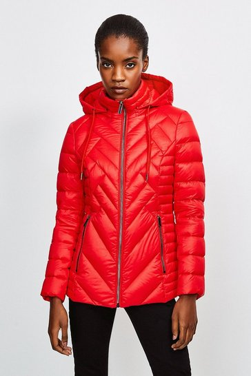 Red Lightweight Feather Down Packable Padded Jacket