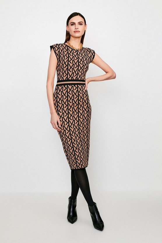 Camel KM Logo Knitted Midi Dress