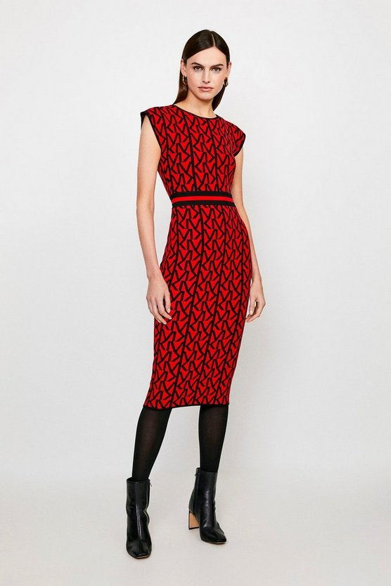 Red KM Logo Knitted Midi Dress