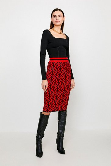 Red KM Logo Knitted Skirt