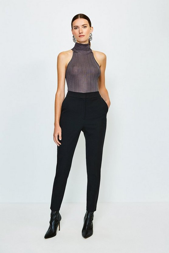 Black Skinny Stretch Tailored Trousers