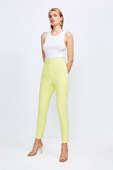 Lime Skinny Stretch Tailored Trousers