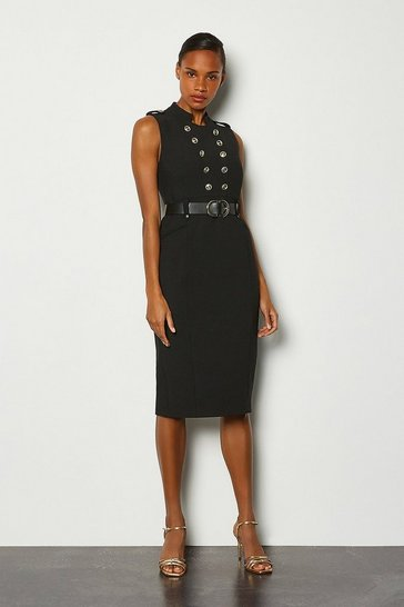 Black Tailored Button Military Dress