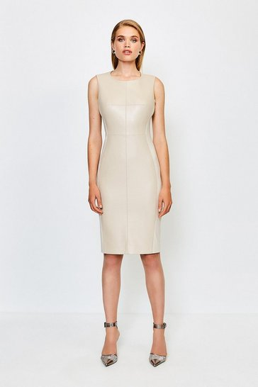 Natural Faux Leather Panelled Dress
