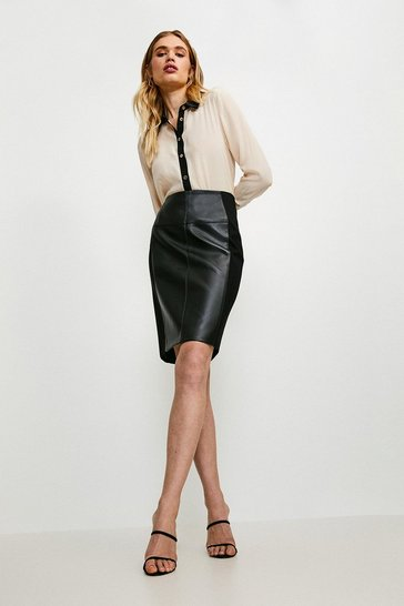Black Faux Leather and Ponte Panelled Pencil Skirt