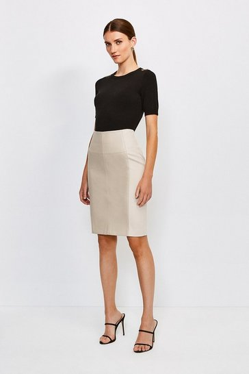 Natural Faux Leather and Ponte Panelled Pencil Skirt
