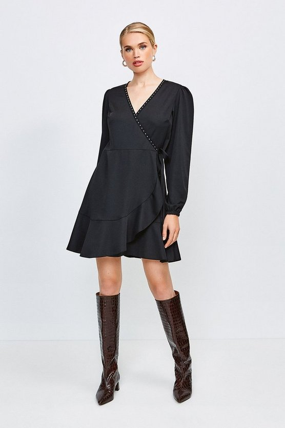 Black Wrap Tie Side Dress With Stud Trim