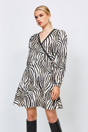 Zebra Animal Print Wrap Dress With Stud Trim