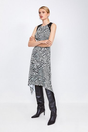 Animal Print Midi Dress With Lace And Stud Trim