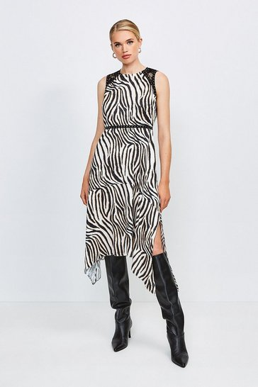 Zebra Animal Print Midi Dress With Lace And Stud Trim