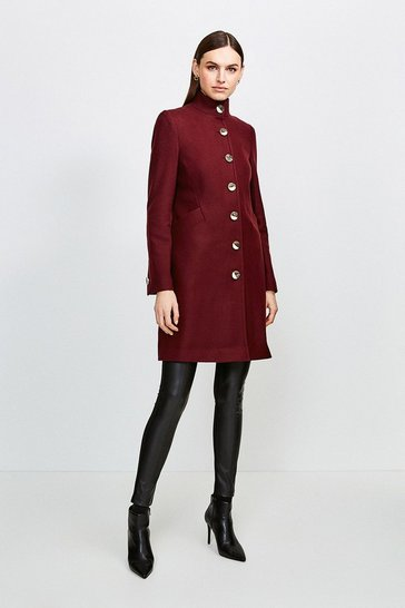 Fig Multistitch Wool Blend Funnel Neck Coat