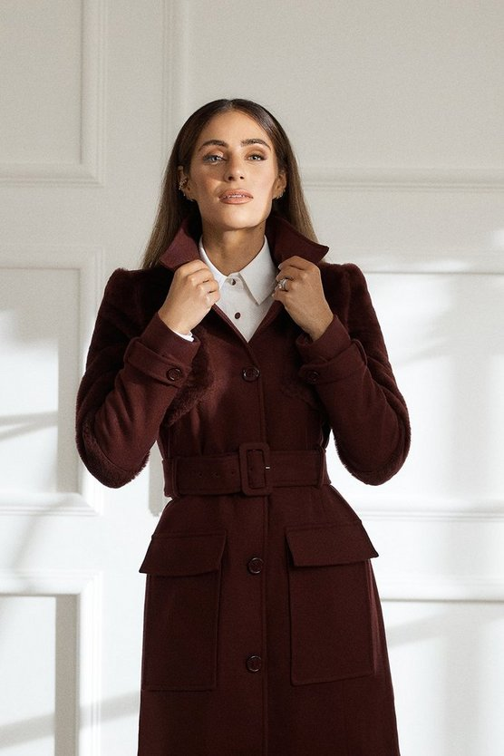 Fig Sheepskin Panelled Belted Coat