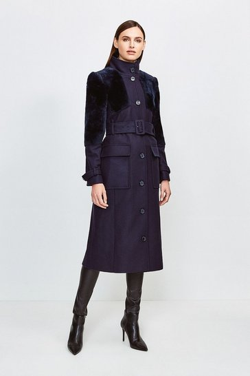 Navy Sheepskin Panelled Belted Coat