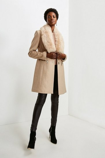 Natural Long Pile Collar Zip Detail Coat
