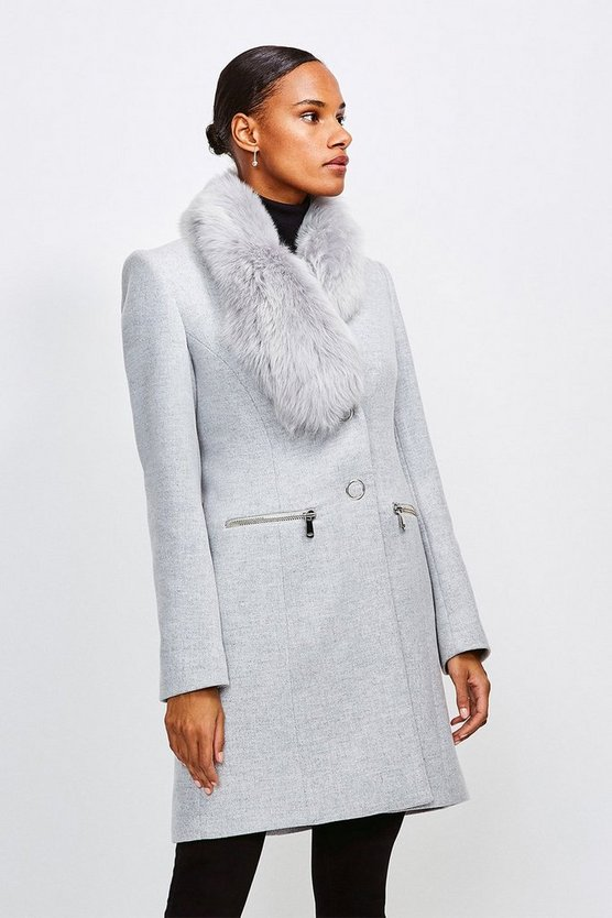 Grey Long Pile Collar Zip Detail Coat