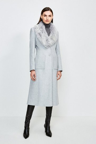 Pale grey Long Pile Collar Coat
