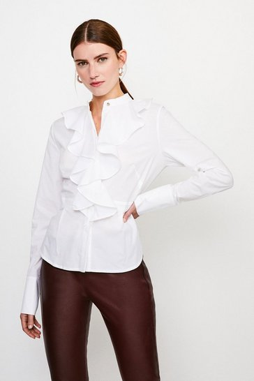 White Cotton Ruffle Detail Sleeved Shirt