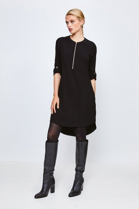 Black Zip Front Relaxed Tailored Dress