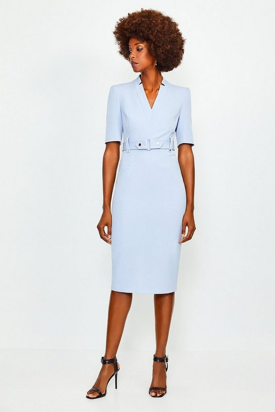 Pale blue Forever Cinch Waist Pencil Dress