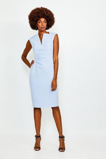 Pale blue Envelope Neck Pencil Dress