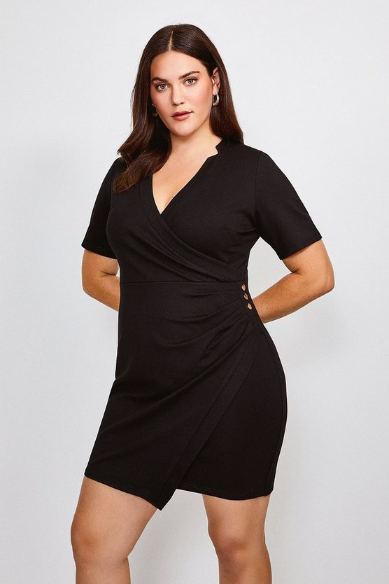 Black Curve Twist Waist Ponte V Neck Dress
