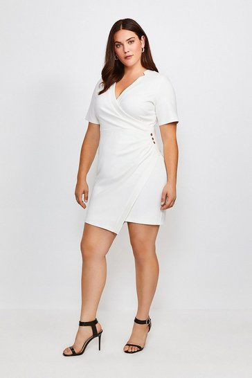 Ivory Curve Twist Waist Ponte V Neck Dress