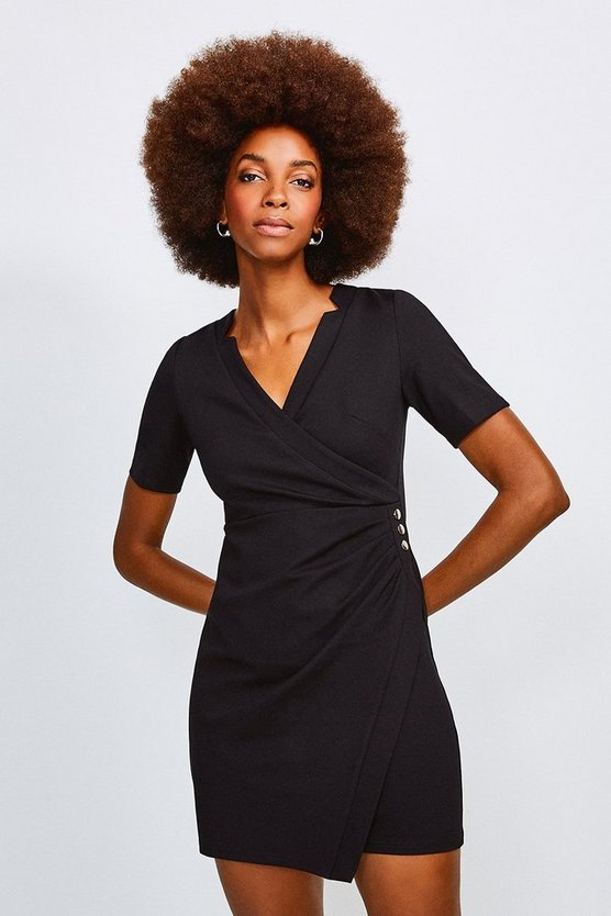 Black Twist Waist Ponte V Neck Dress