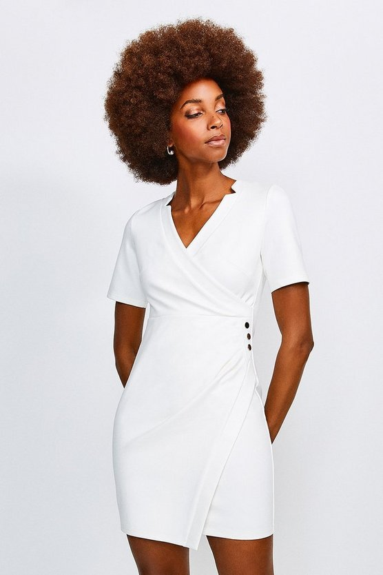 Ivory Twist Waist Ponte V Neck Dress