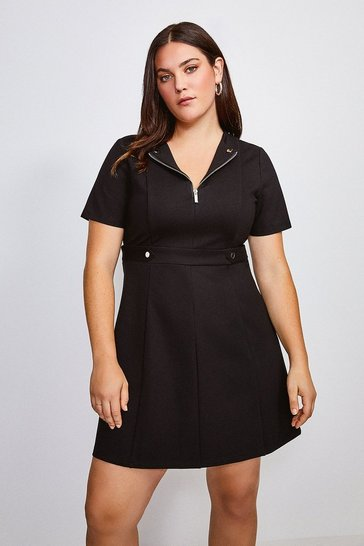 Black Curve Zip Front Ponte Short Sleeve Dress